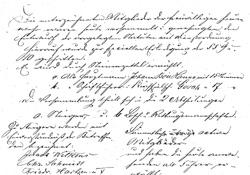 Ein Teil der Grüdungsurkunde von 1881